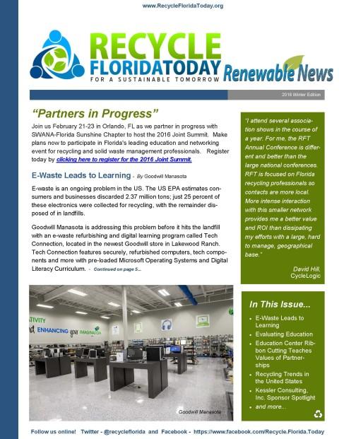 Winter Renewable Newsletter Released