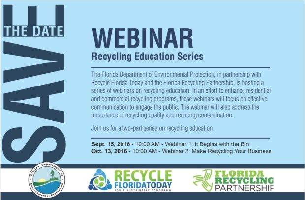 Recycling Education Webinar Series:  Save-the-Date